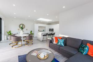The large open-plan kitchen/dining/living room to the back of the dormer bungalow spans a generous 555 sq ft of the total 1,484 sq ft of living space for Cooltray
