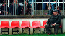The late Jack Boothman, then president of the GAA, watching the Railway Cup game between Leinster and Munster at Newbridge in 1995. Photo: Ray McManus/Sportsfile