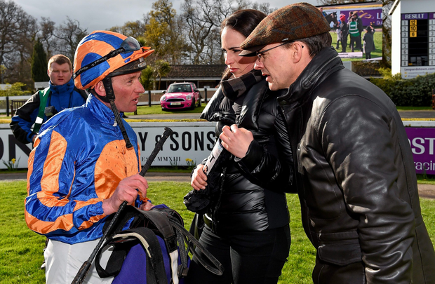 Seamie Heffernan, left, might deliver for trainer Aidan O'Brien aboard Sir Isaac Newton in a poorly-contested seven-furlong race. Photo: Cody Glenn/Sportsfile