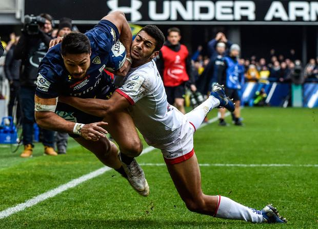 Clermont's New-Zealander fullback Isaia Toeava (L) is tackled during the European Champions Cup rugby union match between Clermont and Ulster at the Michelin stadium in Clermont-Ferrand on January 11, 2020. (Photo by THIERRY ZOCCOLAN / AFP) (Photo by THIERRY ZOCCOLAN/AFP via Getty Images)
