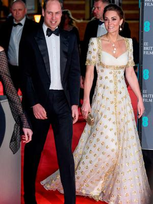 Prince William, Duke of Cambridge (L) and Catherine, Duchess of Cambridge attend the EE British Academy Film Awards 2020 at Royal Albert Hall on February 02, 2020 in London, England. (Photo by Gareth Cattermole/Getty Images)