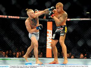 27 September 2014; Conor McGregor, in action against Dustin Poirier. UFC 178, Dustin Poirier v Conor McGregor, MGM Grand Garden Arena, Las Vegas, Nevada, USA. Picture credit: Stephen R. Sylvanie / SPORTSFILE