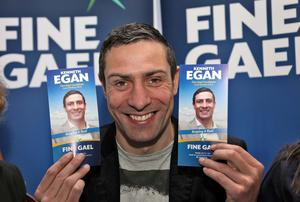 Former Olympic boxer Kenneth Egan already had his election literature ready to go yesterday when he declared his intention to run for Fine Gael. Picture: Colin Keegan, Collins Dublin.