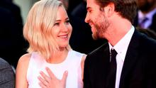 Actors Jennifer Lawrence and Liam Hemsworth  attend Lionsgate's 'The Hunger Games: Mockingjay - Part 2' Hand and Footprint Ceremony  at TCL Chinese Theatre on October 31, 2015 in Hollywood, California.  (Photo by Frazer Harrison/Getty Images)