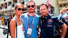 MONTE-CARLO, MONACO - MAY 24:  (L-R) Actors Alicia Vikander and Michael Fassbender talk with Infiniti Red Bull Racing Team Principal Christian Horner before the Monaco Formula One Grand Prix at Circuit de Monaco on May 24, 2015 in Monte-Carlo, Monaco.  (Photo by Mark Thompson/Getty Images)