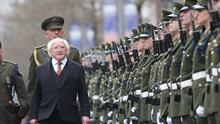 Easter 1916 commemoration: President Michael D Higgins inspects an Army guard of honour at the GPO. Photo: Sasko Lazarov/RollingNews.ie