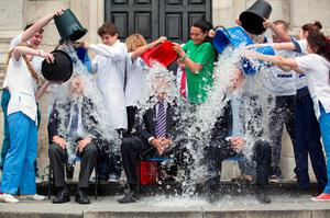 Trinity College's cobblestones were once again given a good soaking after Minister for Health, Leo Varadkar, the Head of Trinity's School of Medicine, Professor Paul Browne, and the Chief Executive of the Health Research Board, Dr Graham Love showed their support for Motor Neurone Disease research by taking the Ice Bucket Challenge