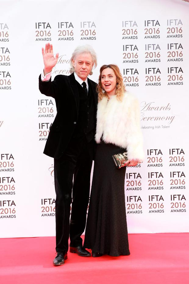 Bob Geldof pictured with with his wife Jeanne Marine at the IFTA 2016 awards