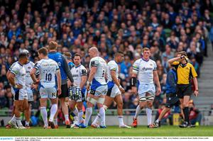4 April 2015; Bath's Anthony Watson, second right, is shown a yellow card by referee Jerome Garces after a late tackle on Ireland's Rob Kearney. European Rugby Champions Cup Quarter-Final, Leinster v Bath. Aviva Stadium, Lansdowne Road, Dublin. Picture credit: Stephen McCarthy / SPORTSFILE