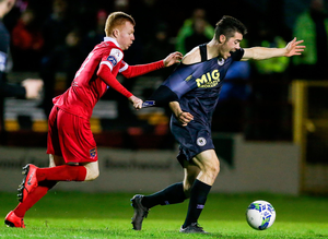 Lee Desmond of St Patrick's Athletic in action against Shane Farrell of Shelbourne. Photo by Michael P Ryan/Sportsfile