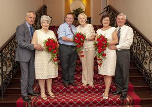 Here come the brides: Don and Breda O'Neill, Tom and Sheila Fitzgerald and Edward and Jean Barrett gather at the Metropole in Cork to remember their wedding day
