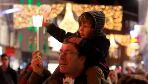 Oscar Kenny (3) and Paul Kenny both from Portmarnock at   the Procession of Light ceremony in Dublin's City Centre as part of the NYF Dublin festival
