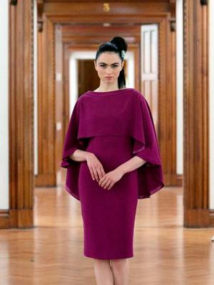 Model Maria wearing Umit Kutluk Cape dress during the launch of Arnotts new Ladieswear and Menswear Collections for Autumn/ Winter 2015 at Hugh Lane Gallery, Dublin. Photo: Gareth Chaney Collins