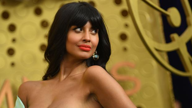 British actress Jameela Jamil arrives for the 71st Emmy Awards at the Microsoft Theatre in Los Angeles on September 22, 2019. (Photo by VALERIE MACON / AFP)