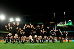 The All Blacks perform the haka ahead of the Rugby World Cup 2019 Group B game between New Zealand and South Africa at International Stadium Yokohama on September 21, 2019 in Yokohama, Kanagawa, Japan. (Photo by Hannah Peters/Getty Images)