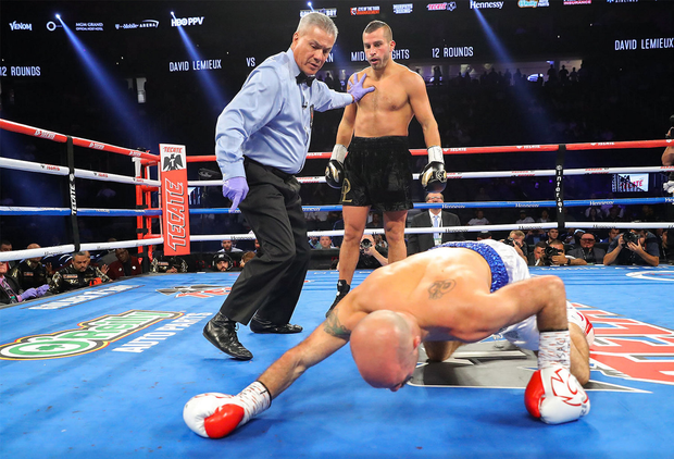 David Lemieux knocks Spike O'Sullivan to the canvas during their middlewieght bout at the T-Mobile Arena in Las Vegas, Nevada, USA. Photo by Tom Hogan/Golden Boy Promotions via Sportsfile