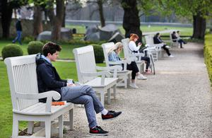 Staying apart: Social distancing at the Royal Hospital, Kilmainham, Dublin, yesterday. Photo: Steve Humphreys