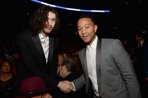 Recording Artists Hozier and John Legend attend The 57th Annual GRAMMY Awards at the STAPLES Center