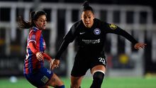 Rianna Jarrett in action for Brighton against Frya Holdaway of Crystal Palace. Photo: Getty Images