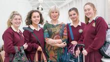 All smiles: Presentation students Caoilfhionn Gilvarry, of Clonsilla, Dublin; Sarah Owens, of Rosslare, Co Wexford; Holly Corby, of Birr, Co Offaly; and Hannah Sullivan, of Clonea Power, Co Waterford; with Noreen Bohan. Photo: Liam Burke, Press 22