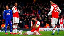 Arsenal's Pierre-Emerick Aubameyang after missed a last-gasp chance to put his side through against Olympiacos.  Photo credit: John Walton/PA Wire.