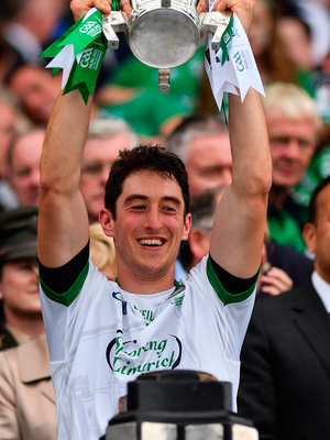 Nickie Quaid lifts the Liam MacCarthy Cup. Photo: Sportsfile