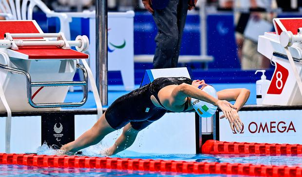 Róisín Ní Ríain competes in the Women's S13 100 metre backstroke final at the Tokyo Aquatic Centre on day two of the 2020 Paralympic Games. Photo: Sam Barnes/Sportsfile