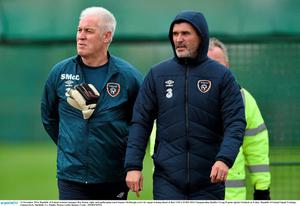 13 November 2014; Republic of Ireland assistant manager Roy Keane, right, and goalkeeping coach Seamus McDonagh arrive for squad training ahead of their UEFA EURO 2016 Championship Qualifer Group D game against Scotland on Friday. Republic of Ireland Squad Training, Gannon Park, Malahide, Co. Dublin. Picture credit: Ramsey Cardy / SPORTSFILE