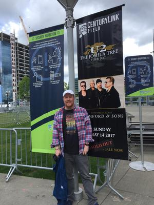 Aaron outside the venue in Seattle where U2 kicked off the Joshua Tree Tour 2017