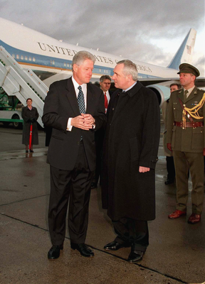 US President Bill Clinton is greeted by Irish Prime Minister Bertie Ahern (R) after arriving at Dublin Airport in 2000. It was President Clinton's third and final official visit to Ireland. PA Photo: Maxwell