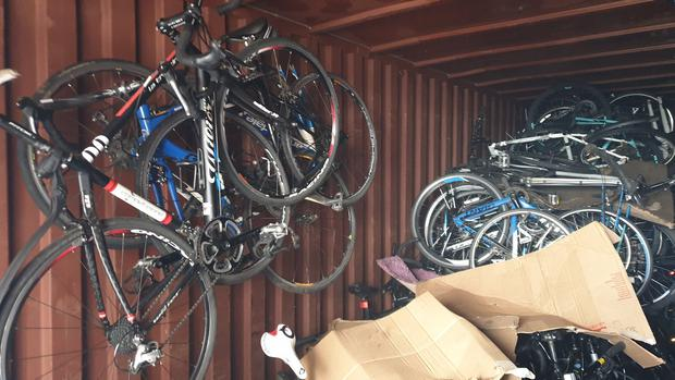 Some of the bicycles found in the container at the allotments