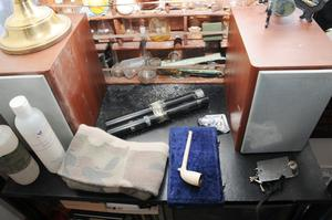 Equipment found in Ryan McGee's bedroom.  Photo: Greater Manchester Police/PA