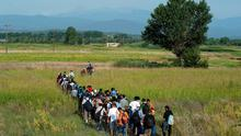 Syrian refugees walk through a field near the village of Idomeni at the Greek-Macedonian border. The United Nations refugee agency said that Greece urgently needed help to cope with 1,000 migrants arriving each day and called on the European Union to step in before the humanitarian situation deteriorates further. REUTERS/Alexandros Avramidis