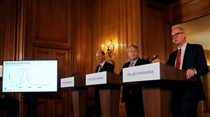 Prime Minister Boris Johnson, alongside Chief Medical Officer for England Chris Whitty (left) and Chief Scientific Adviser Sir Patrick Vallance (right), during a press conference, at 10 Downing Street, London, after the latest COBRA meeting to discuss the government's response to coronavirus crisis. PA Photo