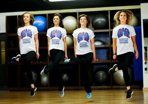 05/05/2015 NO REPRO FEE, MAXWELLS DUBLIN. Pic shows: (l to r) Louise O'Sullivan, Ellen Bonner, Emma Warren and Aoife Kennedy from the Riverdance Troupe. Dancers from the Riverdance Troupe mark World Pulmonary Hypertension Day at the 1Escape Gym in Smithfield. The dancers were working out preparing for their return to the Gaiety Theatre for their annual summer season while 'Getting Breathless for Pulmonary Hypertension' (PH).? World PH Day (5 May) is recognised across the globe and sees activities take place all over the world to highlight awareness of this devastating disease. PIC: NO FEE, MAXWELLS.