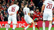 Liverpool's Mohamed Salah scores their first goal.   Action Images via Reuters/Carl Recine