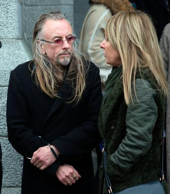 Artist Guggi at the funeral of former Pogues manager Frank Murray in St Paul's Church, Mount Argus. Photo: Tony Gavin