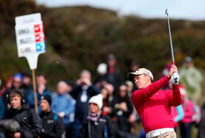 Danny Willett watches his second shot on the 9th during day one of the Dubai Duty Free Irish Open at Royal County Down Golf Club, Newcastle.  Brian Lawless/PA Wire