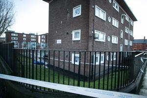 The scene of the fatal shooting of Jason Molyneux in James Larkin House Flats, North Strand .