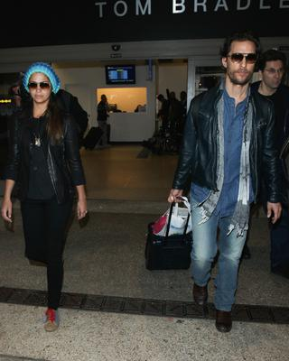 Camila Alves and Matthew McConaughey seen at LAX on November 11, 2014 in Los Angeles, California.  (Photo by GVK/Bauer-Griffin/GC Images)
