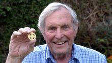 Paddy Prendergast, the last surviving member of the Mayo 1951 All-Ireland team, at home with his medal in Tralee. Photo: Don MacMonagle