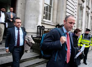 Members of the Troika pictured leaving the Department of Finance with other officials from the Troika on one of their final visits to Dublin
