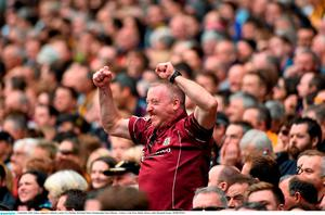 6 September 2015; Galway supporters celebrate a point. GAA Hurling All-Ireland Senior Championship Final, Kilkenny v Galway, Croke Park, Dublin. Picture credit: Diarmuid Greene / SPORTSFILE