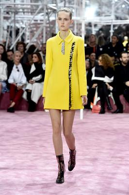 A model walks the runway during the Christian Dior show as part of Paris Fashion Week Haute Couture Spring/Summer 2015 on January 26, 2015 in Paris, France.