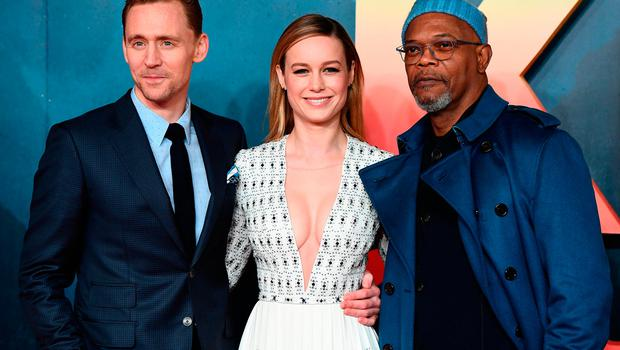 "Tom Hiddleston, Brie Larson and Samuel L Jackson attend the European premiere of ""Kong: Skull Island"" at the Cineworld Empire Leicester Square on February 28, 2017 in London, United Kingdom.  (Photo by Ian Gavan/Getty Images)"