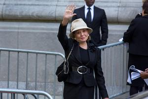 Barbara Walters arrives at a funeral service for comedian Joan Rivers at Temple Emanu-El in New York, Sunday, Sept. 7, 2014. Rivers died Thursday, Sept. 4, 2014. She was 81. (AP Photo/Craig Ruttle)