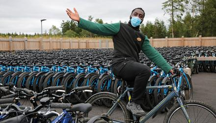 Emmanuel Nwokeiwu at Center Parc's Cycle Centre. Photo: Shelley Corcoran