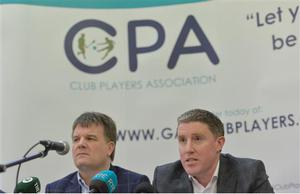 9 January 2017; Declan Brennan, Secretary CPA, left, and Micheal Briody Chairman CPA, at the official launch of the Club Players Association at Ballyboden St Enda's GAA in Firhouse Rd, Ballyroan, Dublin. The CPA are calling for all GAA Club members to register at www.gaaclubplayers.com to help 'Fix The Fixtures' Photo by Piaras Ó Mídheach/Sportsfile