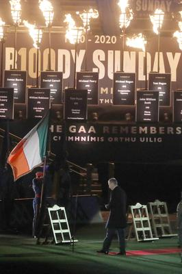 An Taoiseach Micheal Martin during the special remembrance ceremony at Croke Park, Dublin, to honour the 14 victims killed at the venue by Crown Forces on Bloody Sunday, November 21, 1920. (Brian Lawless/PA)