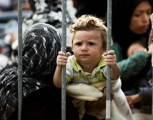 BEHIND BARS: A child sits with other refugees behind a fence between Croatia and Slovenia at the border station of Obretzje in Slovenia yesterday afternoon. Slovenian police block the crossing for the refugees into the country